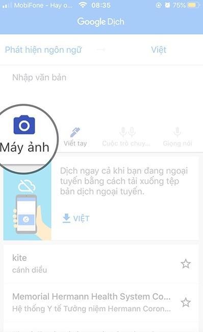 Nút chụp dịch tiếng trung bằng hình ảnh của Google Dịch